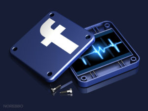 3d rendering of a disassembled Facebook app icon with a glowing blue pulse graphic inside